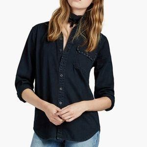 LUCKY BRAND Western Studded Boyfriend Button Shirt